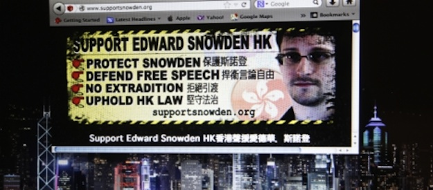 A website supporting Edward Snowden, former CIA employee who leaked top-secret documents about sweeping U.S. surveillance programs, is displayed on a computer screen in Hong Kong.